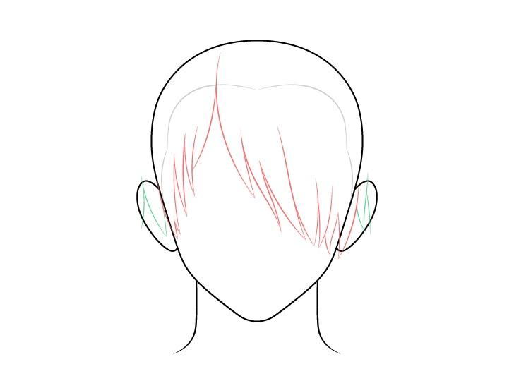 Rambut pria anime di atas satu sisi mata menggambar