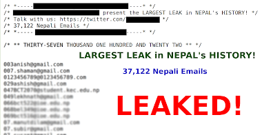 37,122 Nepali Emails List Leaked! LARGEST LEAK in NEPAL's HISTORY! | View List