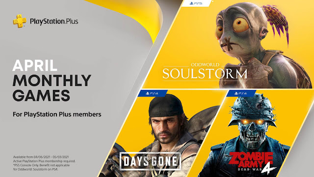 playStation plus days gone oddworld: soulstorm zombie army 4 dead war game ps4 plus ps5 sony interactive entertainment action-adventure survival horror 2.5D side-scrolling platform  third-person shooter game bend studio oddworld inhabitants rebellion developments