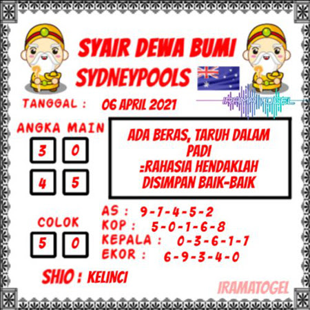 Syair Dewa Bumi Sidney Selasa 06 April 2021