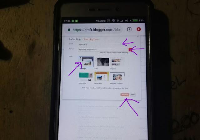 cara membuat blog dari hp android