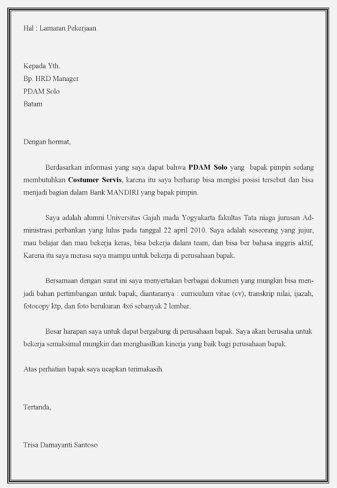 Contoh surat lamaran kerja bumn bahasa Indonesia