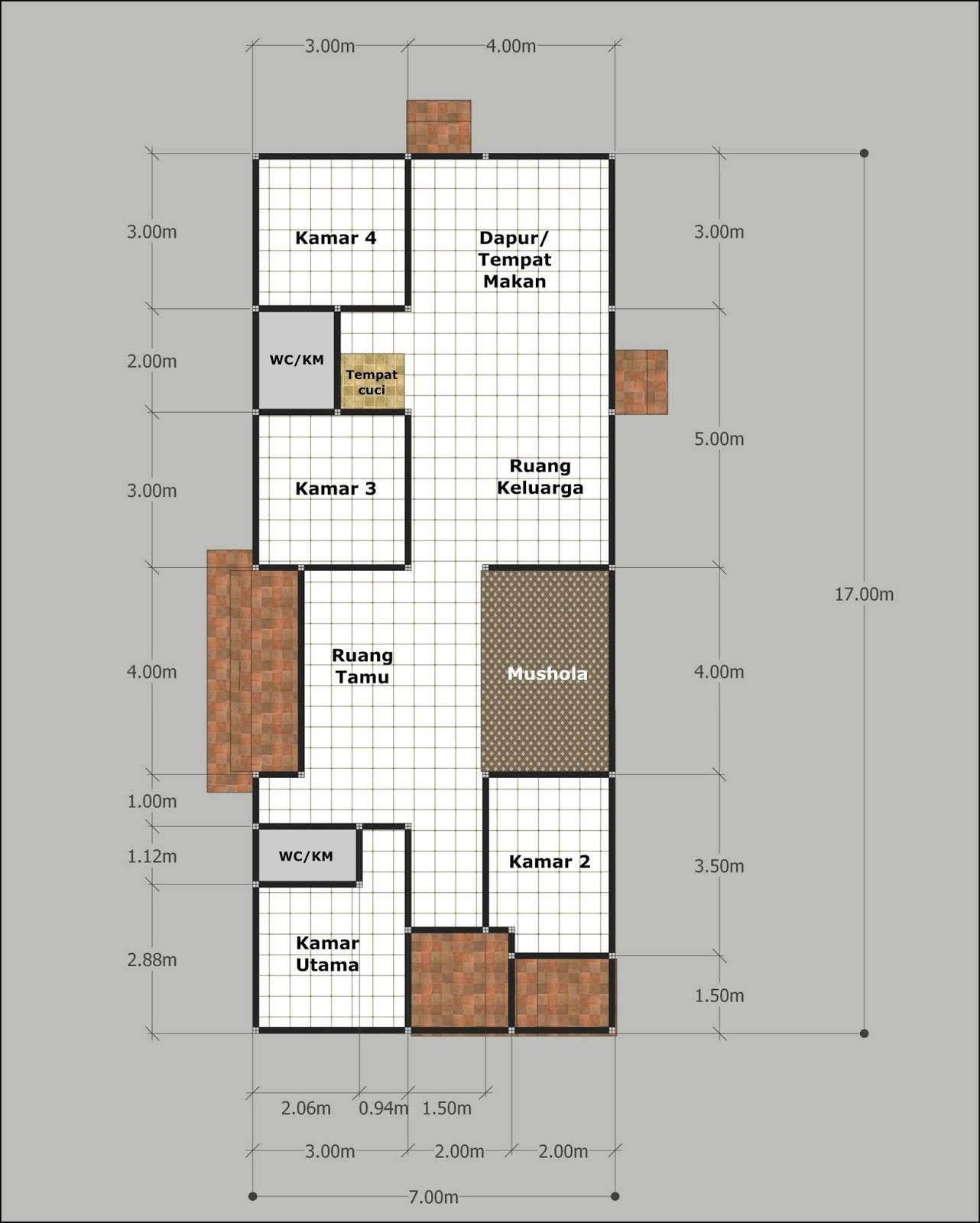 Denah Rumah Ukuran 15x20 : denah, rumah, ukuran, 15x20, Denahose:, Rancangan, Denah, Rumah, Ukuran, Tanah