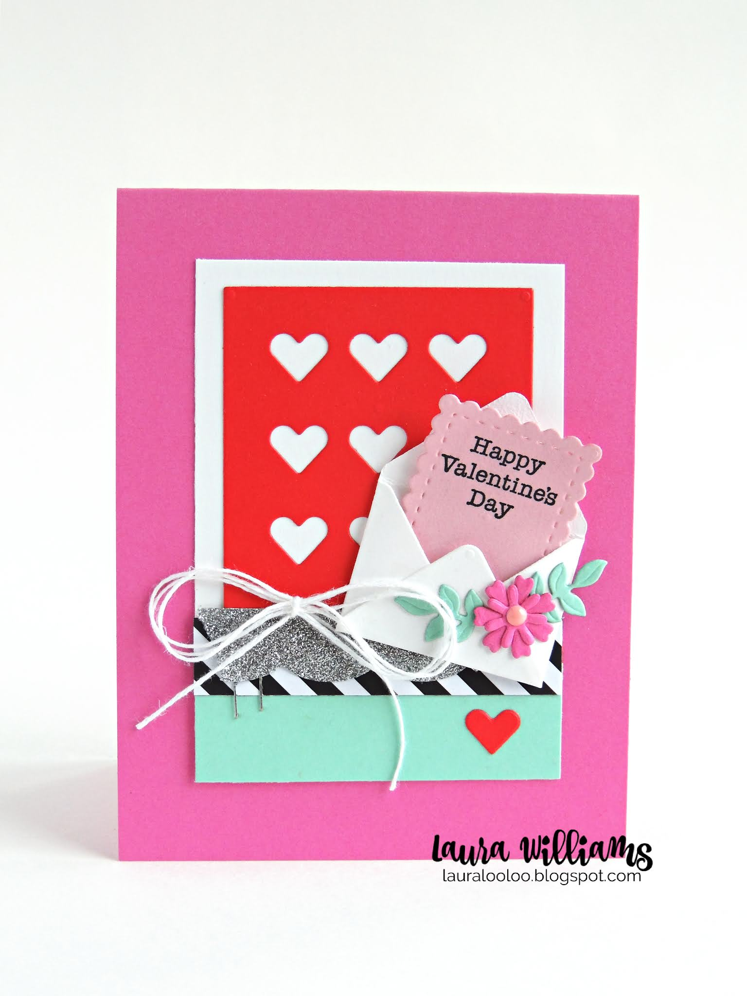 Handmade valentine card with a baby envelope and hearts background that says Happy Valentine's Day, with pink flowers and a white bow.