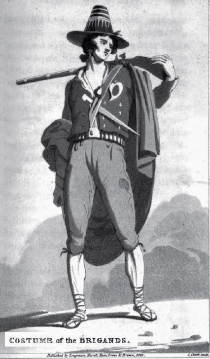 Illustration of the costume worn by brigands in the province of Rome at the beginning of the 19th century.