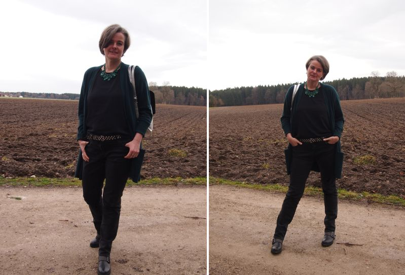 Winter: Kombination in Dunkelgrün,Schwarz und Silber plus Statementkette
