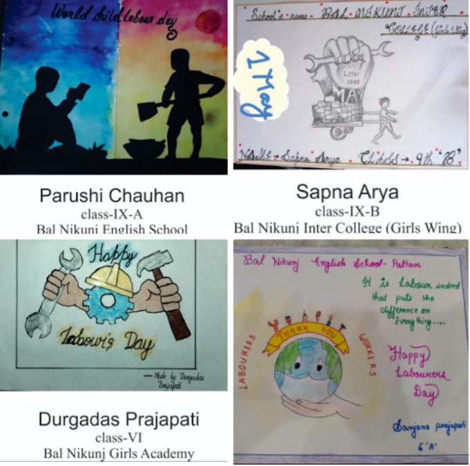 विश्व मजदूर दिवस : चित्रकला के माध्यम से बाल निकुंज के बच्चों ने दिया ये संदेश