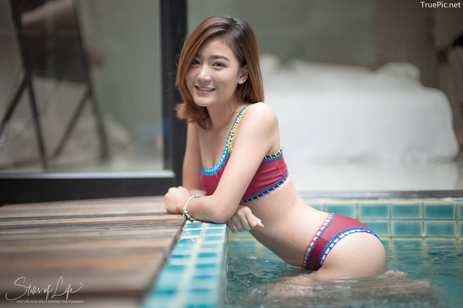 Thailand model - Pattaravadee Boonmeesup - Earn Red Swimsuit