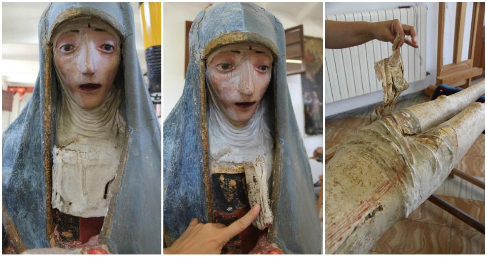 Retirada de los añadidos de tela de los personajes femeninos y Jesús