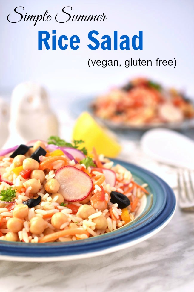 This Simple Summer Rice Salad boasts a tasty, nourishing combo of ingredients such as grated carrots, radishes, red onions, olives, peppers, chickpeas and fresh parsley, in a simple vinaigrette. A great potluck contribution - vegan, nut-free, gluten-free.