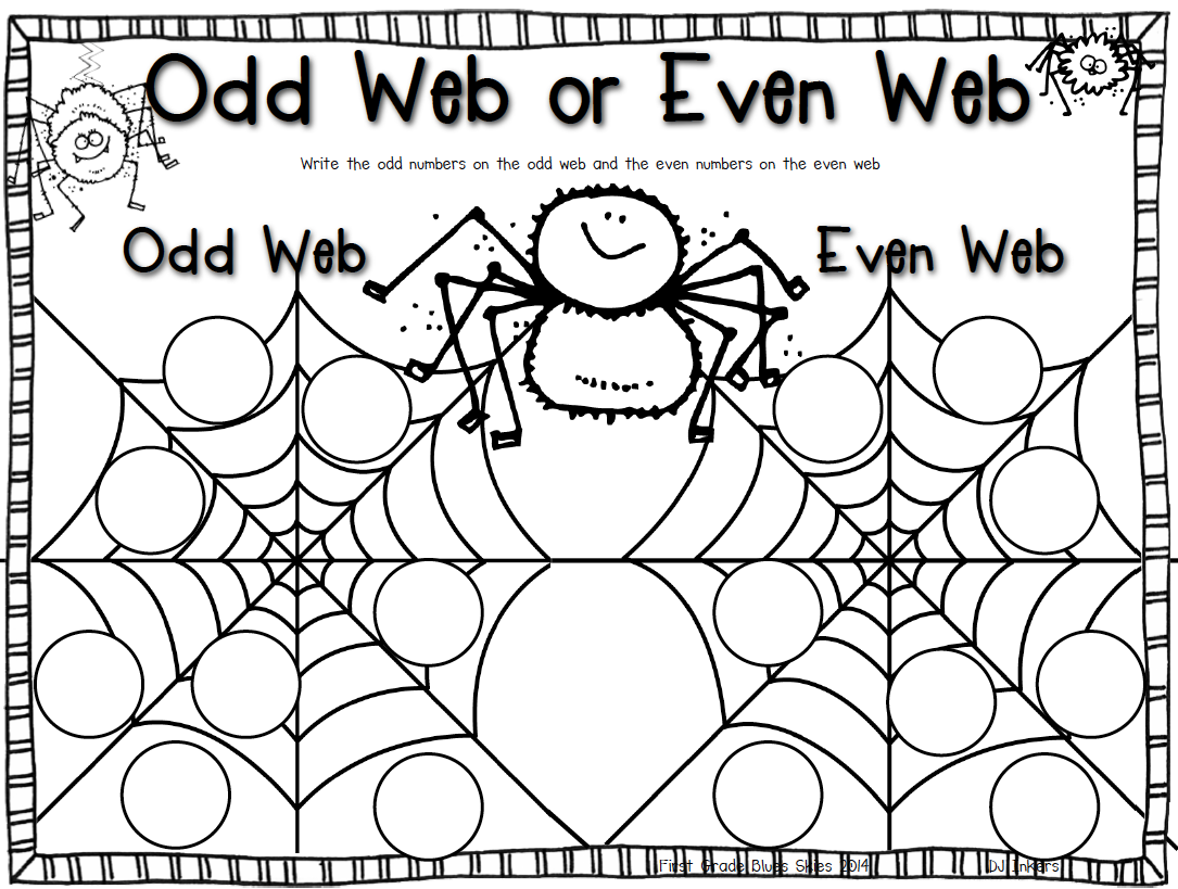 First Grade Blue Skies Odd And Even Webs Freebie And My