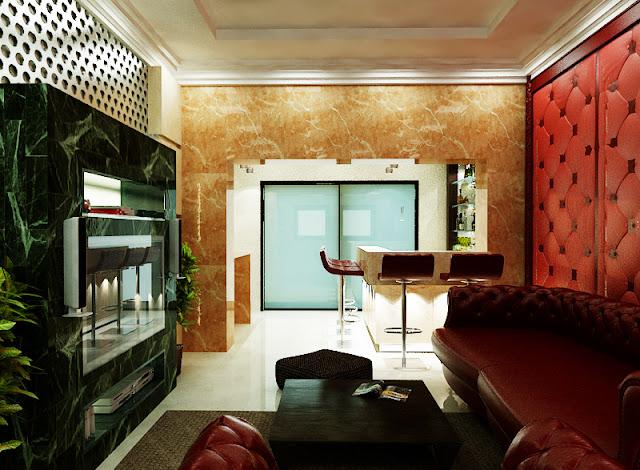 arabic design, award winning designs, best interior designs, Chandelier, dubai interior, emirates hills villa, leather paneling, living room, lobby design, luxury villas, modern design, The First ferry,