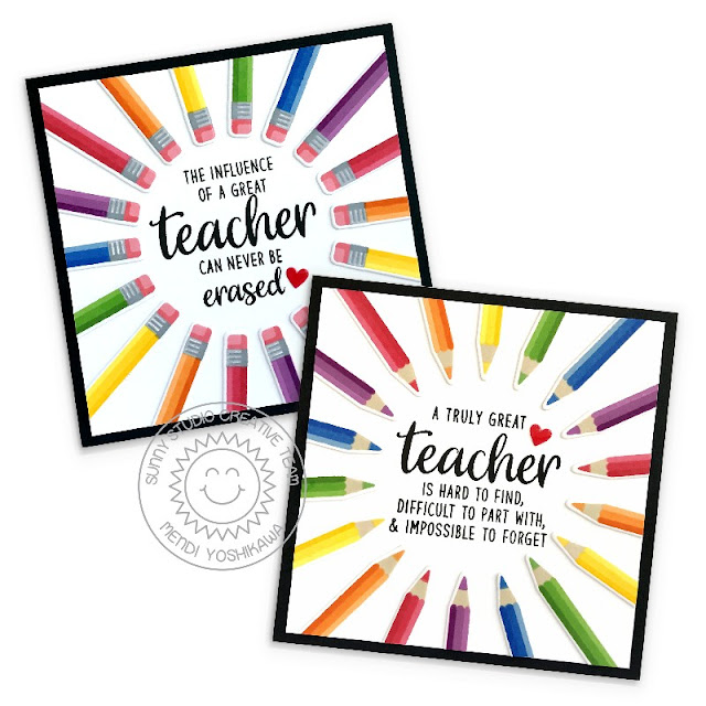 Create a radial Colored Pencil Card Design (using Color My World & Teacher Appreciation) and free Jpeg printable