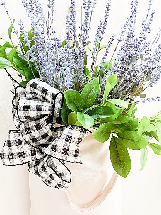lavender and greens in a market tote