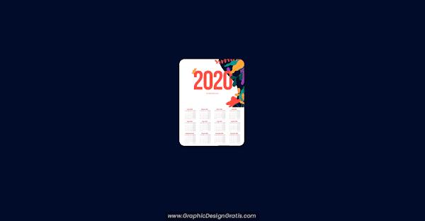 Calendario 2020 editable gratis (Illustrator & Corel Draw)
