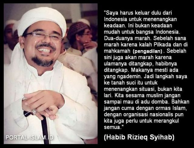 HRS: Saya Harus Keluar Dulu dari Indonesia Menenangkan Keadaan, Kita Sesama Muslim Jangan Mau Diadudomba