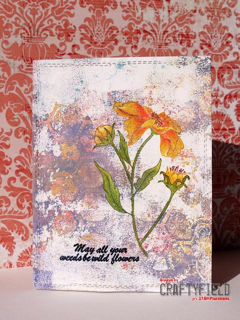 Gelli print with Blooming Bud stamp