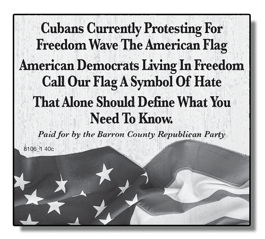Newspaper ad: Democrats call our flag a symbol of hate