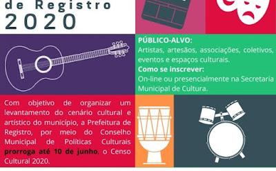 Inscrições para o Censo Cultural de Registro 2020 se encerram no dia 10