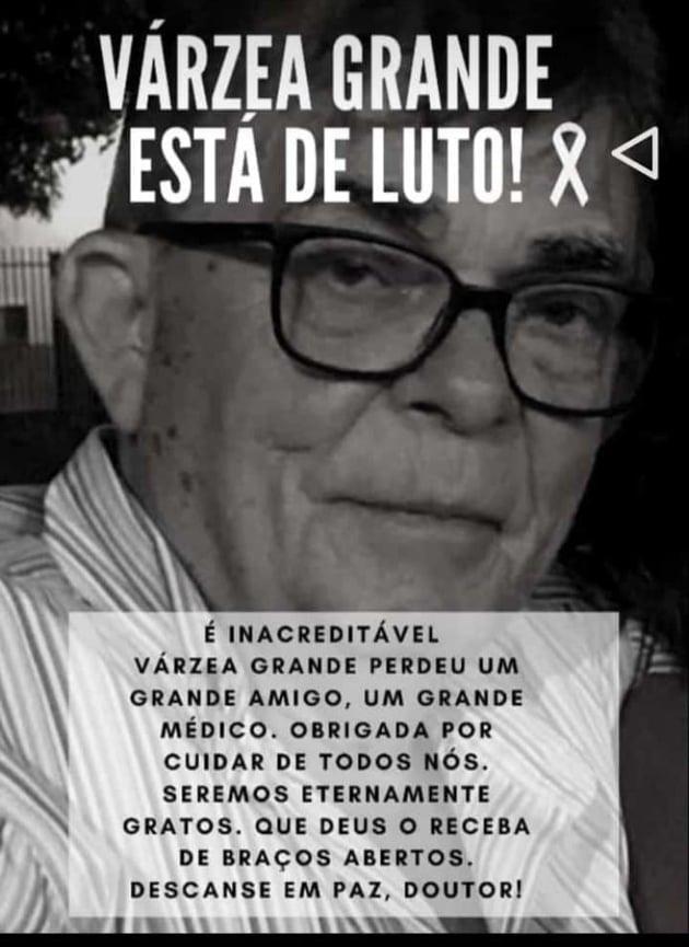 Várzea Grande: Morre Dr Almeida, renomado médico varzeagrandense, vítima da Covid-19.