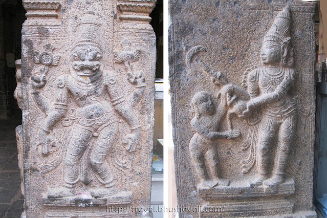 Madambakkam Dhenupureeswarar Temple Pillar relief Sculptures