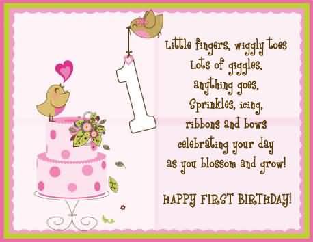 Little Girl 1st Birthday Wishes for Baby Girl