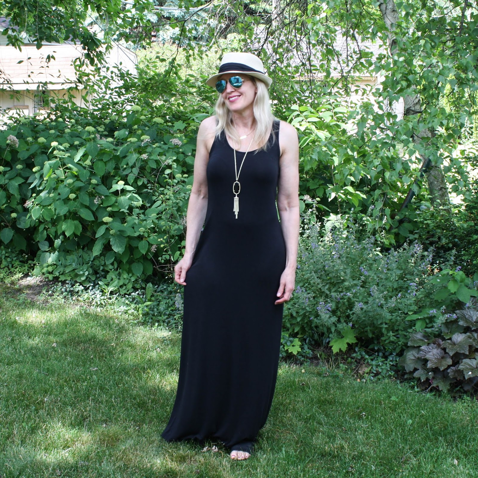 Black Maxi Dress + Panama Hat