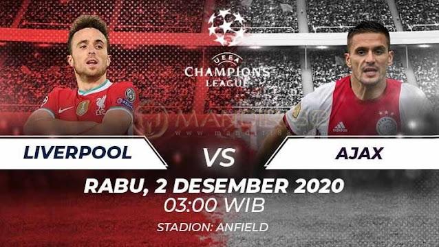 Prediksi Liverpool Vs Ajax, Rabu 01 Desember 2020 Pukul 03.00 WIB @ SCTV