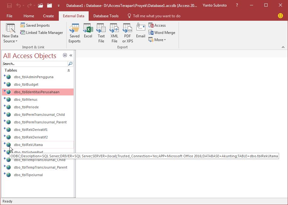 Begini Cara Membuat Linked Table dari Database SQL Server
