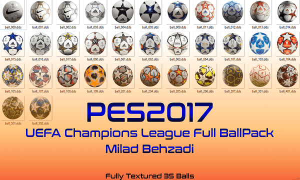New UEFA Champions League Balls For PES 2017
