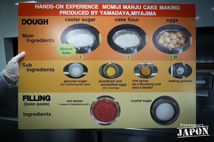 Liste des ingrédients, atelier momiji manju Yamadaya, Miyajima, Hiroshima-ken