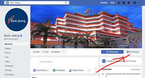 halaman fanspage facebook resmi bank jateng
