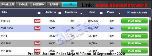 prediksi jackpot poker meja vip rabu 16 september 2020