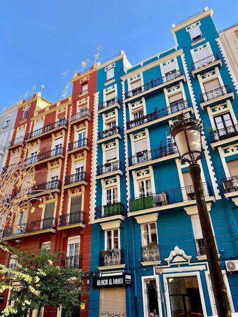 Colourful buildings in Russafa area of Valencia, Spain