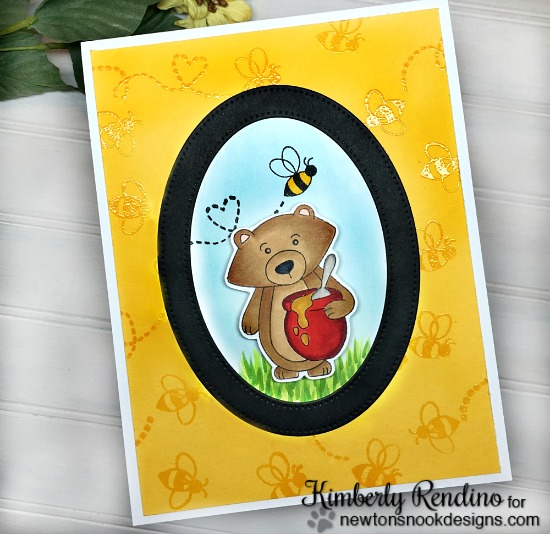 newton's nook designs | honeybee | bear | honeypot | kimpletekreativity.blogspot.com | handmade card | embossing