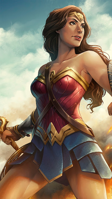 wonder woman fan art wallpaper for mobile in 1080 x 1920 pixels