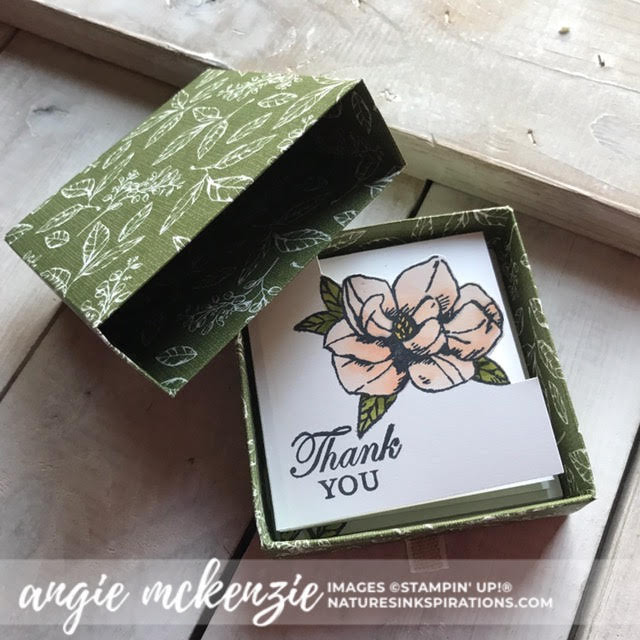 By Angie McKenzie for Stampin' Dreams Blog Hop; Click READ or VISIT to go to my blog for details! Featuring: my favorite Stampin' Up! Designer Series Paper (DSP), Magnolia Lane DSP, Detailed Trio Punch; #stampinupdsp  #magnoliabloomsstampset #magnolialanedsp #cardtechniques #bloghops #3dprojects #minicardbox #magnolialaneribboncombo