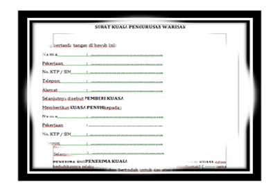 Format Surat Kuasa Pengurusan Warisan Download