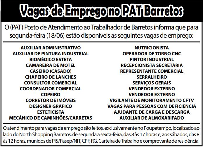 VAGAS DE EMPREGO DO PAT BARRETOS-SP PARA 18/06/2018 (SEGUNDA-FEIRA)