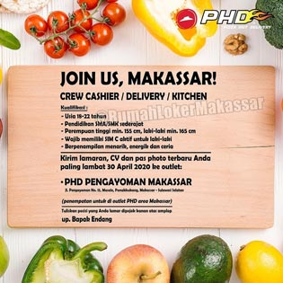 Lowongan Kerja Crew Outlet Pizza Hut Delivery area Makassar