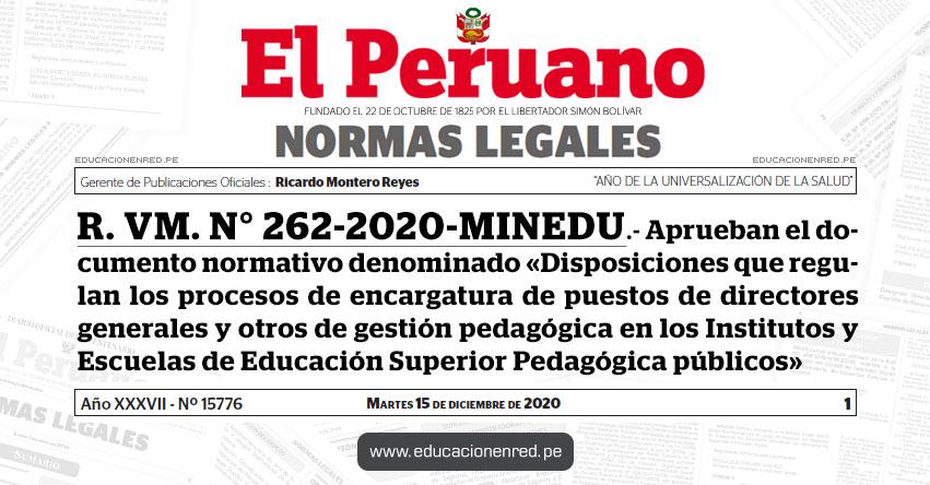 R. VM. N° 262-2020-MINEDU.- Aprueban el documento normativo denominado «Disposiciones que regulan los procesos de encargatura de puestos de directores generales y otros de gestión pedagógica en los Institutos y Escuelas de Educación Superior Pedagógica públicos»