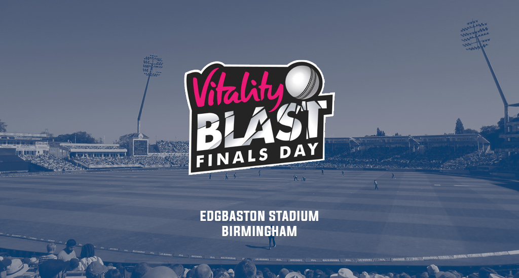 Edgbaston Stadium and the Vitality Blast Finals Day logo