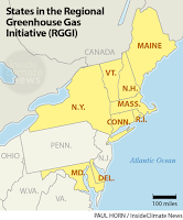 States in RGGI, the Northeast's Regional Greenhouse Gas Initiative (Credit: Paul Horn / InsideClimate News) Click to Enlarge.