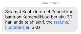 SMS Bantuan Kuota Kemdikbud