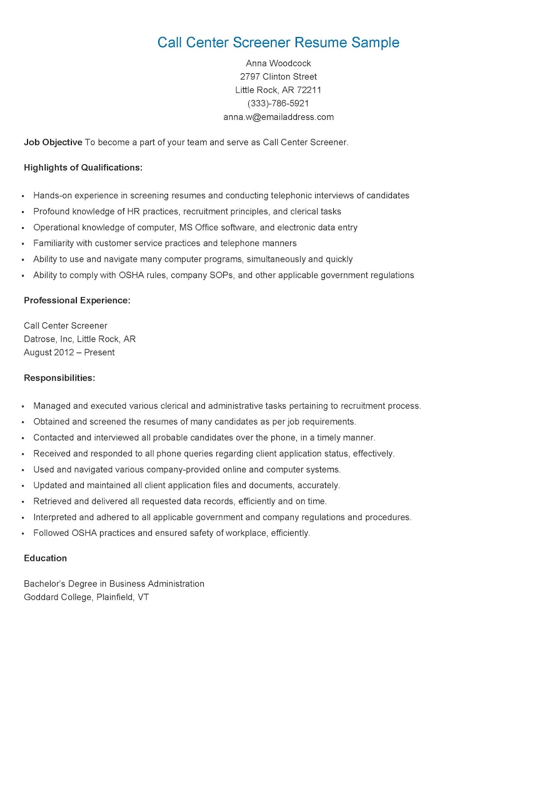Resume Format For Bpo Resume Samples Call Center Screener Resume Sample