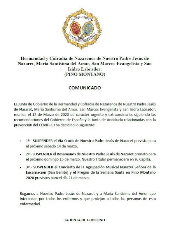 Pino Montano suspende el Vía Crucis de NPJ de Nazaret.