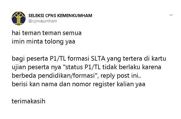 Wajib Baca PELAMAR KHUSUS CPNS KEMENKUMHAM , Ketentuan Pelamar CPNS Status P1/TL dan P1/TLnya ditolak
