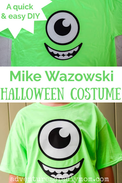 Collage of Mike Wazowski t-shirt costume