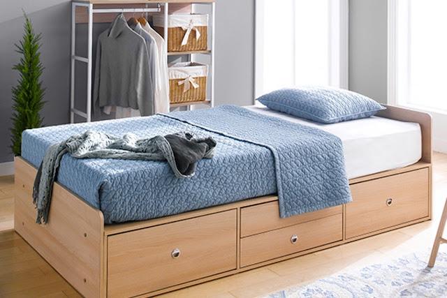 Giường có ngăn kéo size ss dành cho những không gian nhỏ, đặc biệt phù hợp với những người đang sống một mình.
