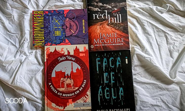 capa dos livros neuromancer, red hill, faca de água e volta ao mundo